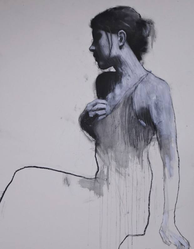 A pastel and collage study, Natalie, by Mark Demsteader.