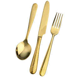 Roberto Cavalli gold-plated steel Home Gold Lizard cutlery, knife, £160, fork, £135, and spoon, £145