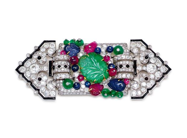 Cartier 1929 diamond, emerald, sapphire, ruby and onyx Tutti Frutti brooch, price on application, from Symbolic & Chase