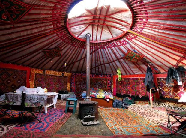 The roomy interior of a Kazakh ger.