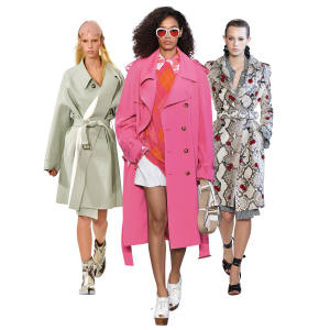From left: Maison Margiela cotton canvas trench, £2,100. Michael Kors wool gabardine trench, £2,420. Altuzarra python Mesquite trench, £23,495