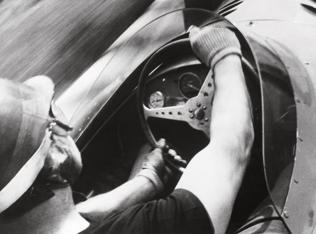 Never-before-seen photograph of the early use of an onboard camera when Maserati fixed one to Juan Manuel Fangio's 250F at Modena in 1957