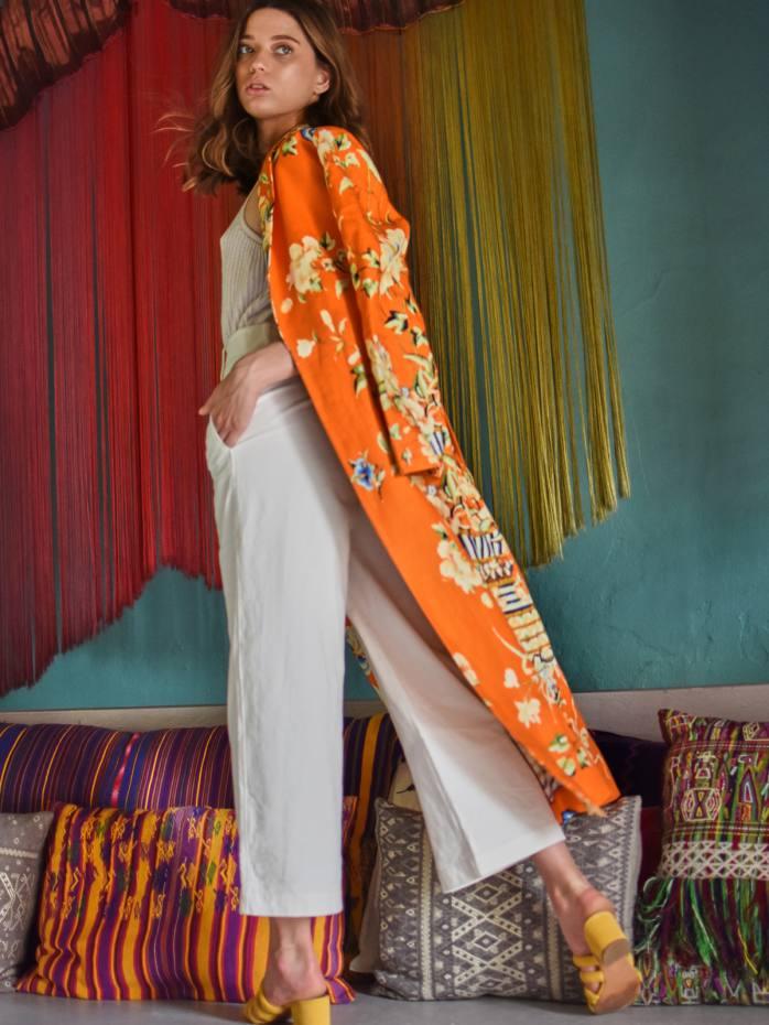 Maison Alma linen Calor Y Rosas kimono wrap coat, $2,400