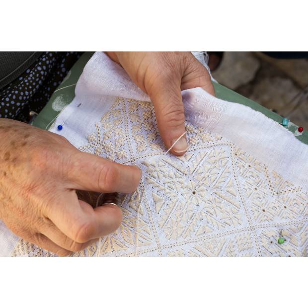 Traditional Lefkaritiko lace making