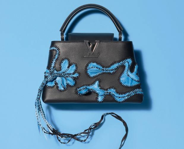 Nicholas Hlobo's calf-,lambskin andribbon Capucines bag,€6,500, is a tactile creation with rippling formsand a plaited tail
