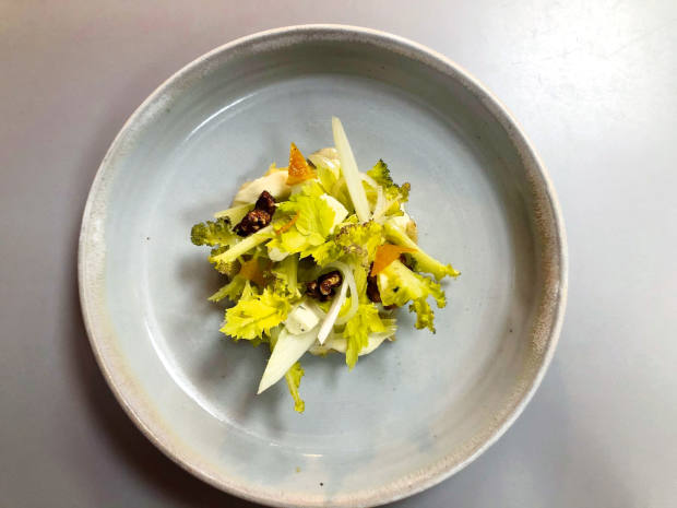 Sea kale with blue cheese and candied walnuts at TheKitchin