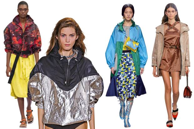 From left: Paul Smith nylon anorak, £695. Isabel Marant nylon jacket, £770. Mary Katrantzou nylon anorak, £1,220. Bottega Veneta calfskin jacket, £5,295