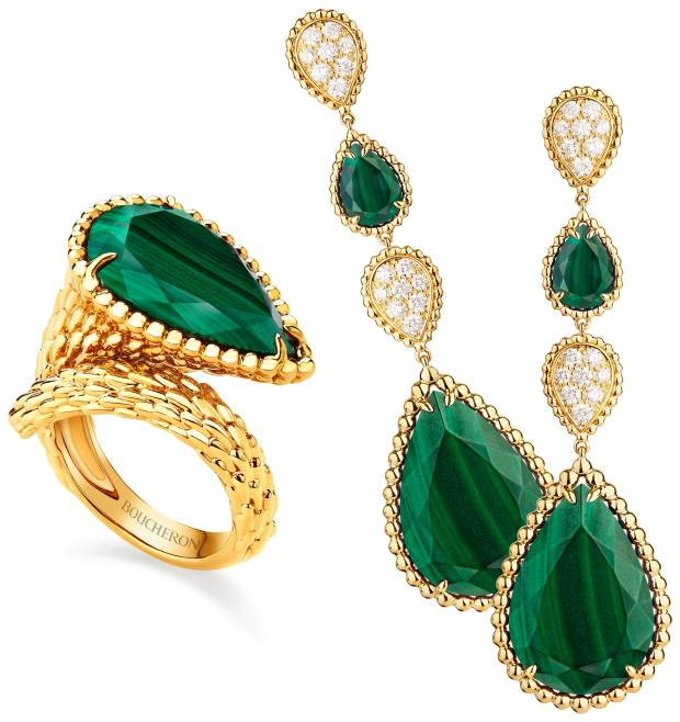 From left: Boucheron malachite and yellow gold ring and malachite, diamond and yellow gold earrings from the Serpent Bohème collection, both price on request