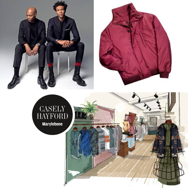 Clockwise from top left: Joe and Charlie Casely-Hayford. Casely-Hayford nylon Thirdman bomber jacket, £805. An illustration of the new Casely-Hayford shop in Marylebone