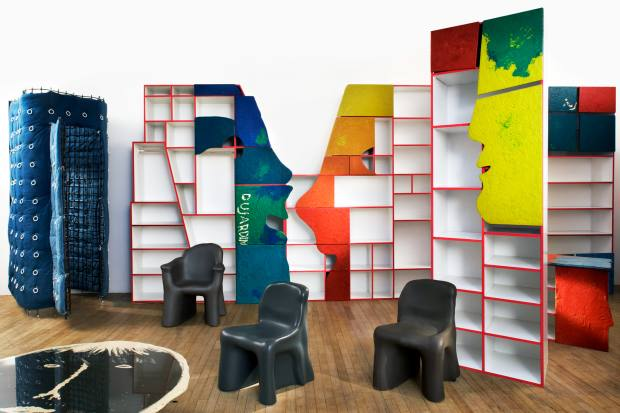 The shelves and cloakrooms for the Dujardin store in Belgium, designed by Gaetano Pesce, presented by Laffanour-Galerie Downtown