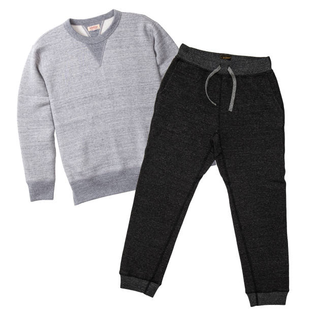 The Real McCoy's cotton loopwheel sweatshirt, £155. National Athletic Goods cotton gym pants, £125