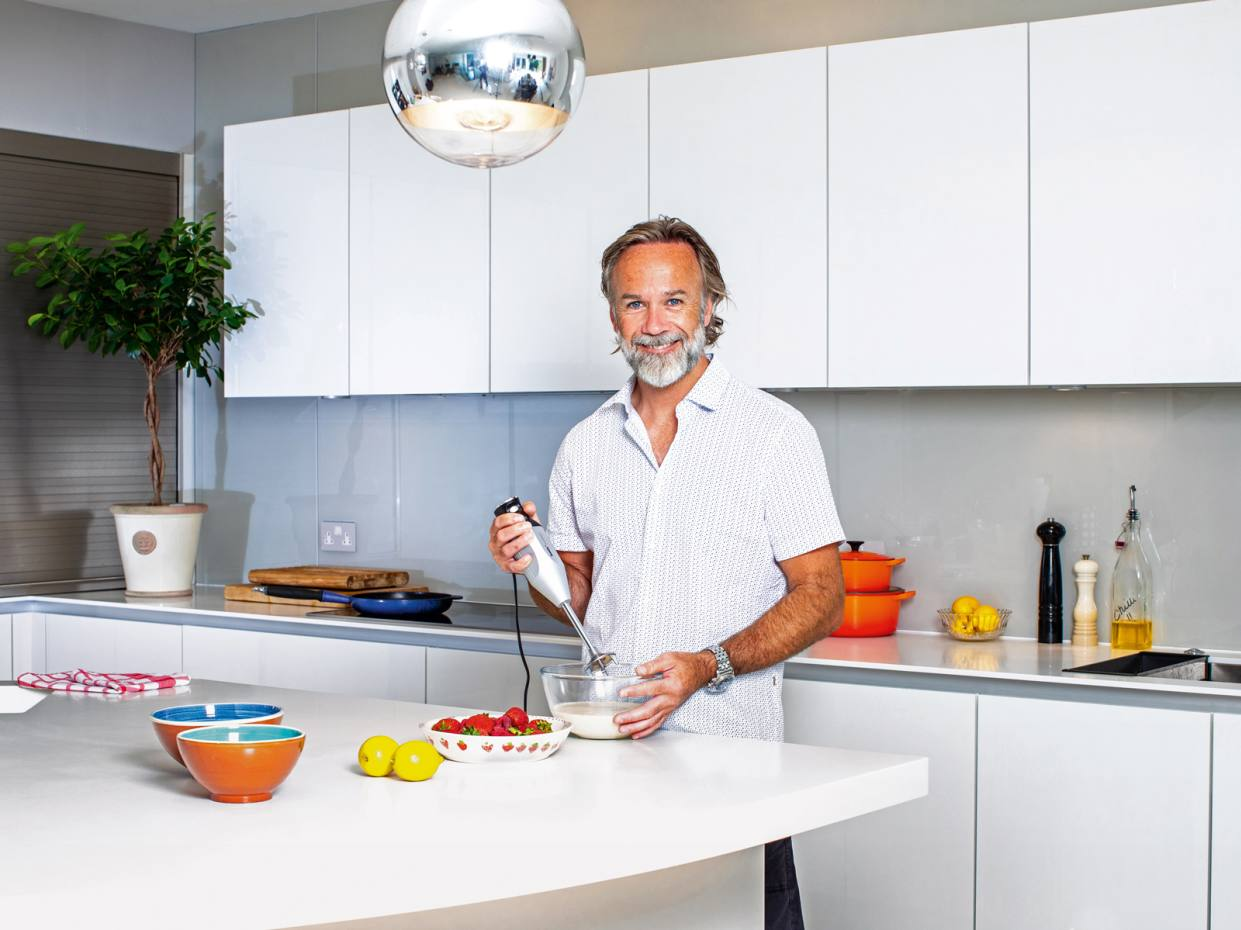 Marcus Wareing with his Bamix hand blender and Le Creuset pans