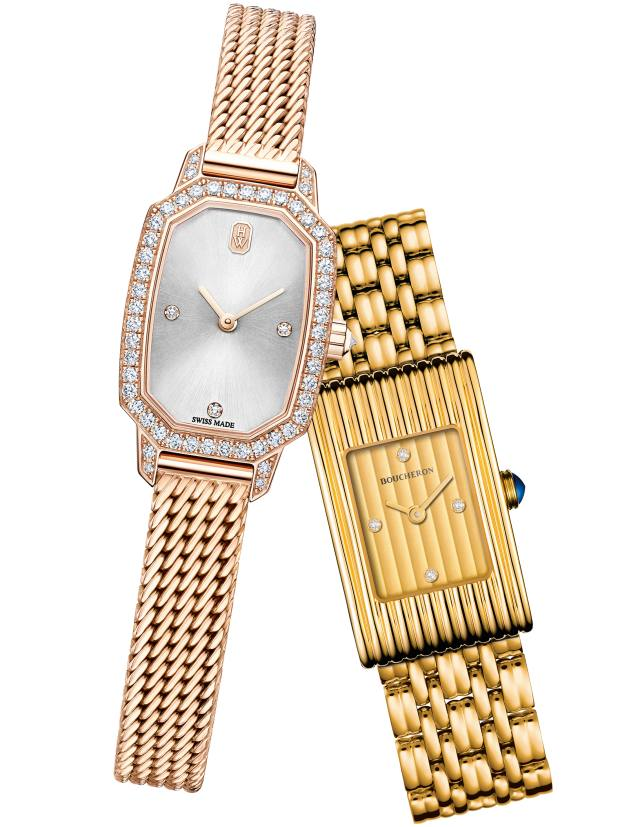 From left: Harry Winston rose-gold and diamond Emerald watch, £16,600. Boucheron gold and diamond Reflet watch, £18,700
