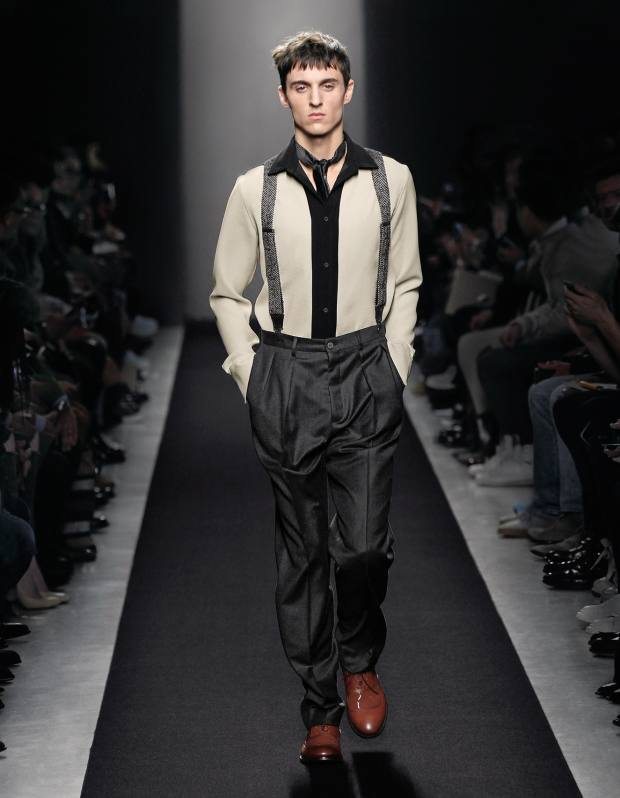 Polyester shirt, £440, flannel trousers, £560, calfskin shoes, £615, and linen and leather braces, £260