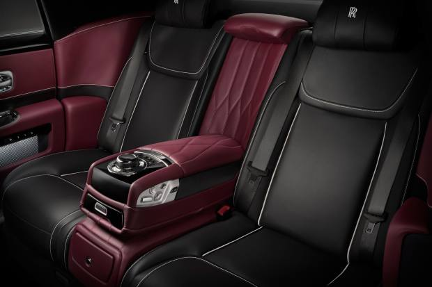The leather car interior – the doors feature perforated leather pockets illuminated from within