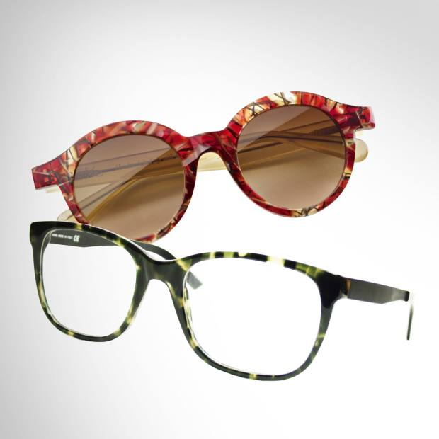 From top: Oliviero Zanon for Res/Rei sunglasses, £280, and BlueMagicEye frames, £199, both in vintage acetate, from Eyestylist