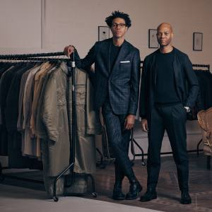 Charlie (left) and Joe Casely-Hayford at their studio in Seven Sisters, with items from the spring/summer 2016 collection