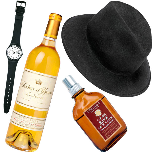 From left: Swatch Once Again GB743 watch, £32. Château d'Yquem, one of the winesNouvel gave his father for his birthday. Eau des Baux by L'Occitane, £46 for 100ml. Nouvel's Fedora by Motsch for Hermès