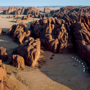 Warda Camp, hidden in a natural sandstone amphitheatre in the Ennedi Massif