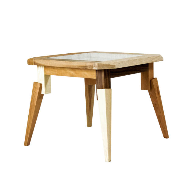 Walnut, cherry and ash Feral side table with glass top by Nigel Coates, £940