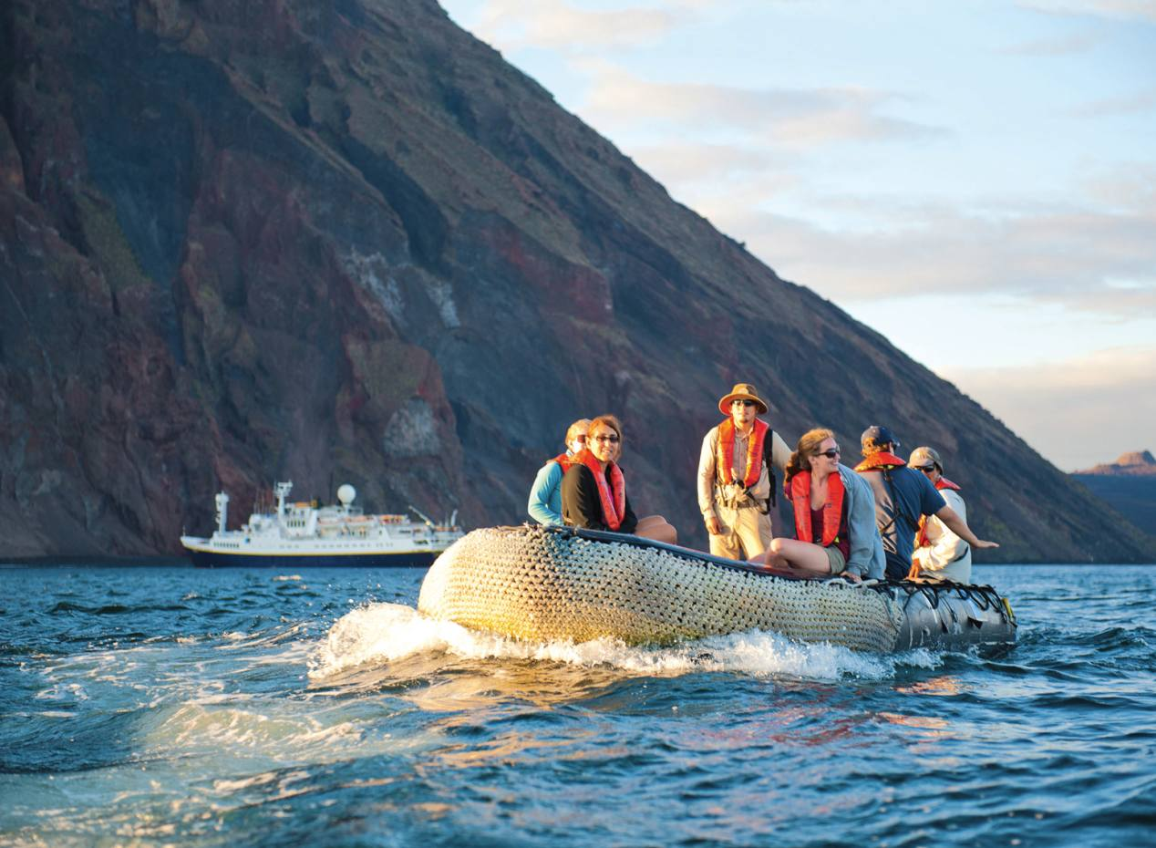 Exploring the Galápagos by Zodiac with Lindblad Expeditions, whose South American cruises are dedicated to local sourcing