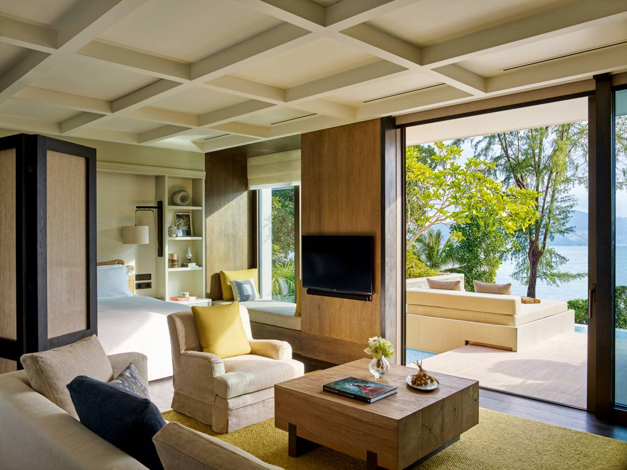 A beachfront villa at Rosewood Phuket, with a generous portion of outdoor space