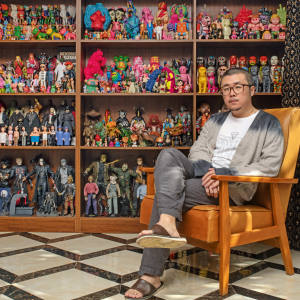 Chen Fei at home in Beijing with some of his large collection of toys – most of them sofubi