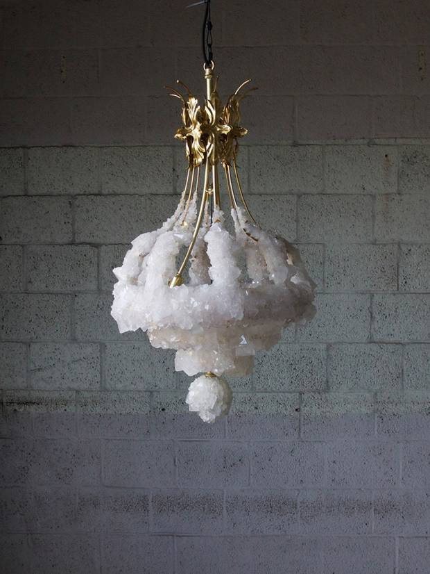 Mark Sturkenboom's stalactite-like chandelier in crystallised brass, exhibited by Galerie Philia