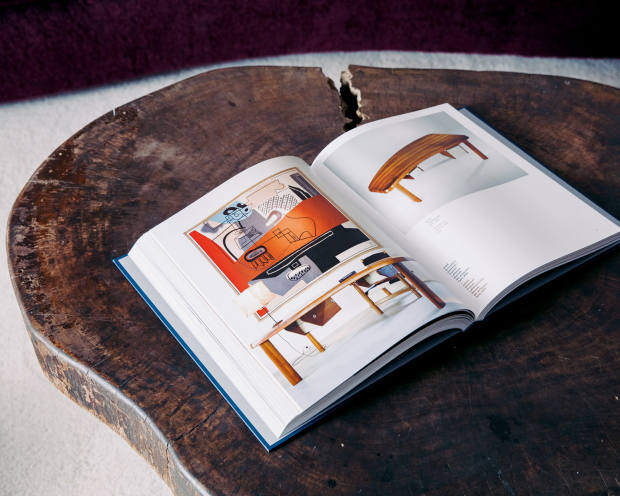 Laffanour's Living with Charlotte Perriand book (on a Le Corbusier/Pierre Jeanneret tree trunk coffee table)