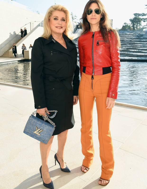Catherine Deneuve and Charlotte Gainsbourg attending the Louis Vuitton show, Paris Fashion Week, 2014