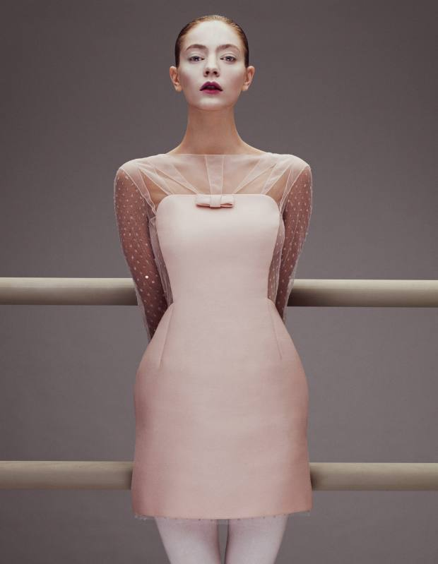 Veranika wears Emilio Pucci wool and silk dress, £1,389. Repetto Supplex