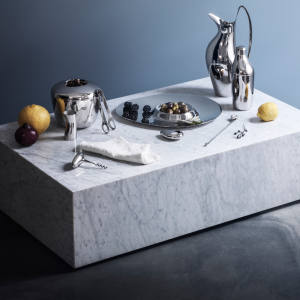 Aurélien Barbry's clean and minimalist Sky cocktail range also includes a shaker, £95, stirring spoon, £21.80, ice bucket with tongs, £145, corkscrew, £35, bottle opener, £30, and double serving bowl, £125