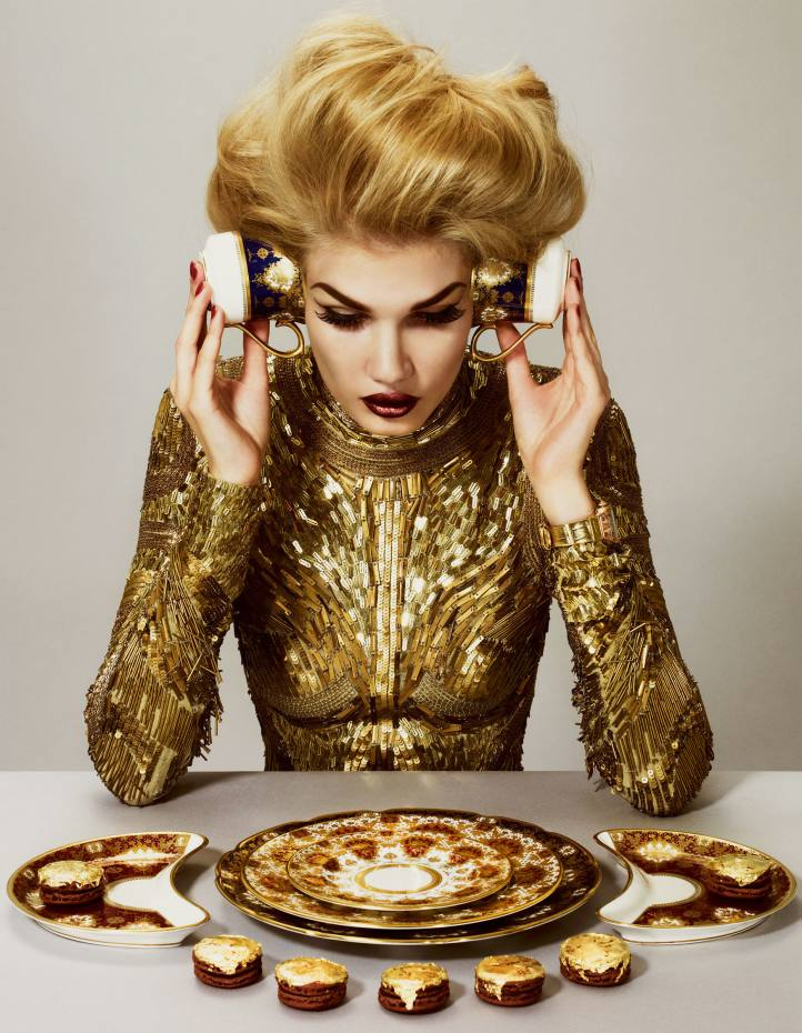 Metal-embroidered top, £5,870, by Roberto Cavalli. Rose gold RM 007 Décor Sun watch with orange and yellow sapphires and mother-of-pearl dial on crocodile strap, £72,000, by Richard Mille. Porcelain teacups, £230 each, dinner plate, £285, dessert plate, £270, bread plate, £230, and salad crescents, £330 each, all from the Marquis de Mois collection by Thomas Goode. Macaroons with gold leaf, £3.20 each to order, by Ladurée.Harrods, 87-135 Brompton Road, London SW1 (020-7730 1234; www.harrods.com). Ladurée, 1 Market Place, Covent Garden, London WC2 (020-7240 0706; www.laduree.com) and branches and see Harrods. Richard Mille, 2 Place Vendôme, Paris 75001 (+331-4015 1000; www.richardmille.com). Roberto Cavalli, 20-22 Sloane Street, London SW1 (020-7823 1879; www.robertocavalli.com). Thomas Goode, 19 South Audley Street, London W1 (020-7499 2823; www.thomasgoode.com).
