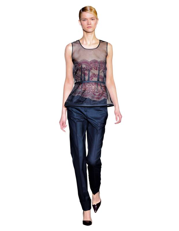 Guipure lace top, £1,035. Wool flannel trousers, £414. Autumn/winter 2010.