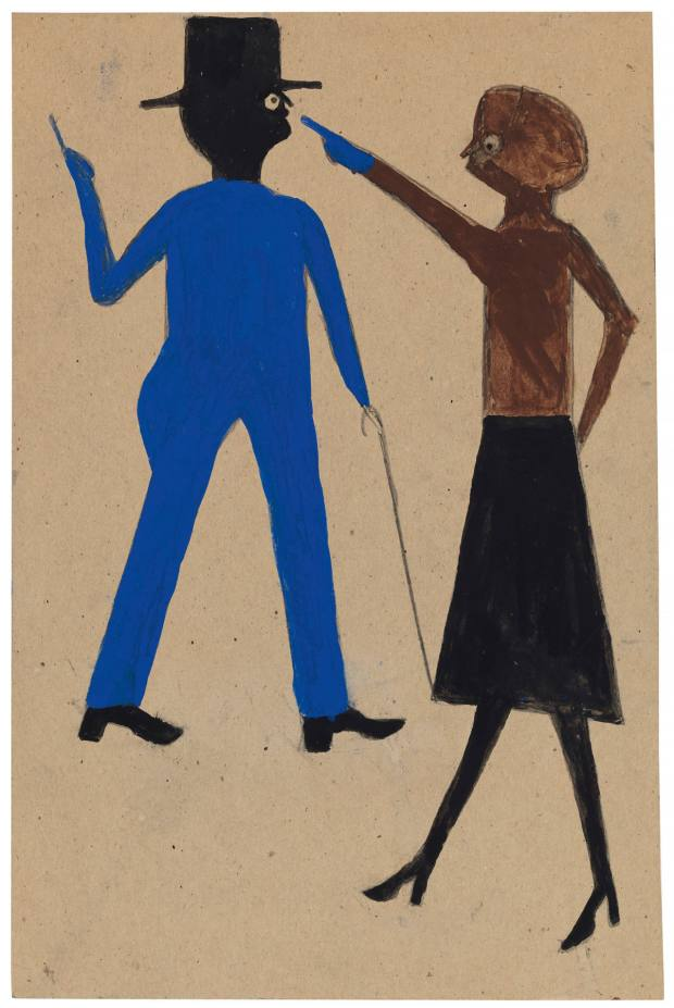 Woman Pointing at Man with Cane, c1939-1942, by Bill Traylor, fetched $396,500 at Christie's in January 2019