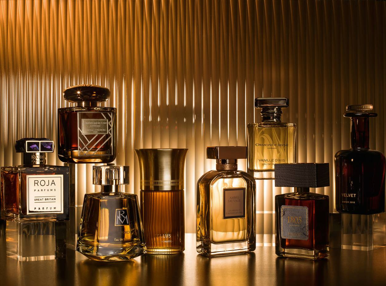 From far left: Roja Parfums Great Britain, £1,250 for 100ml parfum. Terry de Gunzburg Ombre Mercure Extrême, £235 for 100ml extrait de parfum. Ruth Mastenbroek Oxford, £80 for 100ml EDP. Liquides Imaginaires Tellus, £150 for 100ml EDP. Annick Goutal Ambre Sauvage, £166 for 75ml EDP. Ormonde Jayne Vanille d'Iris, £90 for 50ml EDP. Beaufort London 1805, £95 for 50ml EDP. Perfumer H Velvet, £175 for 100ml