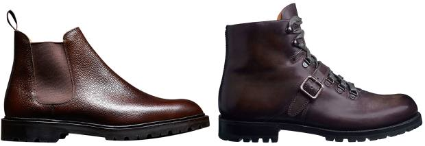 From left: Crockett & Jones leather Chelsea boots, £465. Berluti calfskin Brunico Bolzano boots, £1,770
