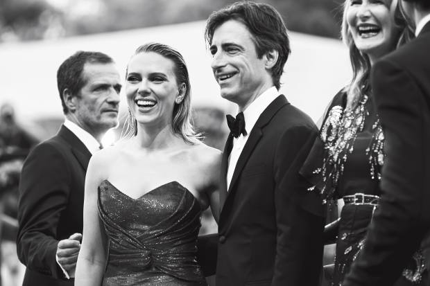 Scarlett Johansson, in Celine, with director Noah Baumbach at the premiere of Marriage Story