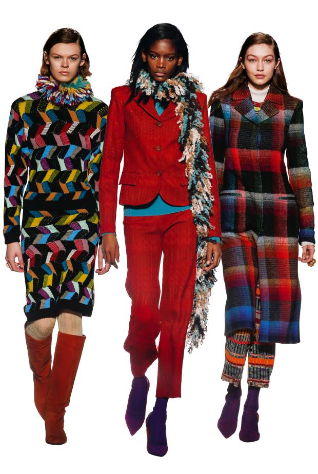 From left: Missoni wool jumper, £1,110, and matching skirt, £1,010. Mohair andviscose jacket, £1,715, matching trousers, £775, and mohair and viscose poloneck, £655. Wool and mohair coat, £2,660, wool jumper, £510, and wool trousers, £875