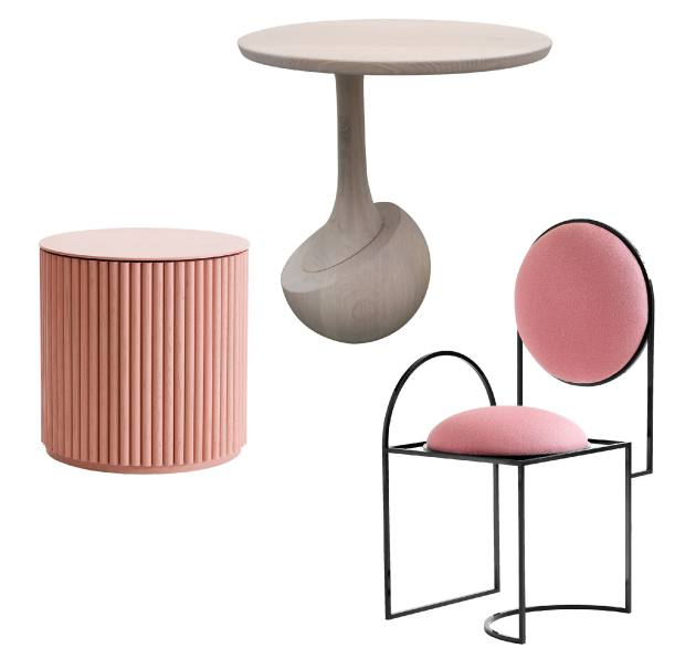 From left: Asplund oak Petit Palais side table, from 1,376. Artemest wood Achille side table, £1,920. Bohinc Studio steel and wool Solar chair, £2,924