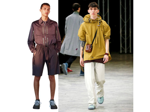 From left: Stella McCartney viscose shirt, £1,075, and cotton shorts, £265. Lanvin cotton hooded top,£850