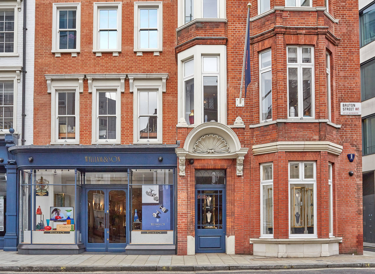 The exterior of William & Son at 34-36 Bruton Street in Mayfair