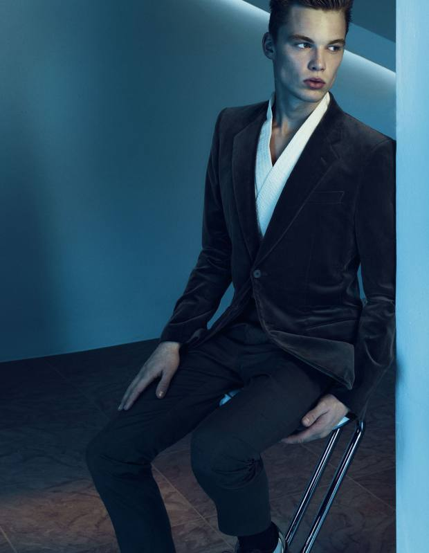 Velvet jacket, £1,960, silk trousers, £645, cotton kimono, £1,690, and astrakhan derby shoe, £2,990, all by Louis Vuitton. Ribbed cotton-blend socks, £18, by Pantherella