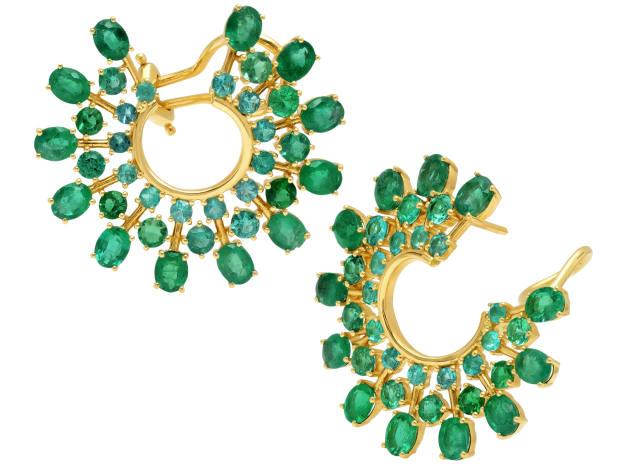 Graziela gold, emerald and Paraíba tourmaline hoop earrings, $19,500