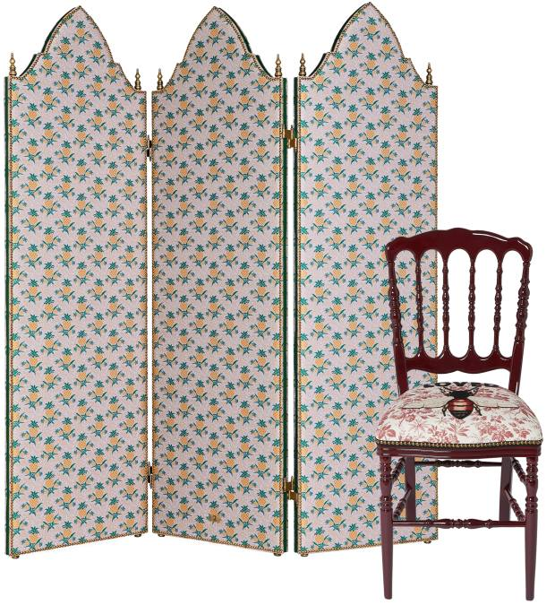 The elegant Pineapple screen, £17,820, is also available decorated with octopuses, £21,060. The wood dining chair, £1,830, is finished with chintzy upholstery