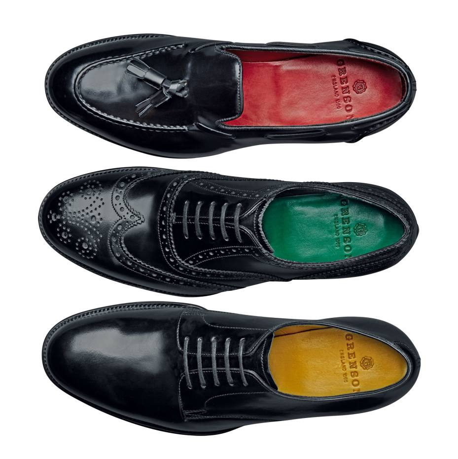From top: Grenson Leadenhall tassel, Toynbee wing-tip brogue and straight-laced Gresham toe-cap, all £375