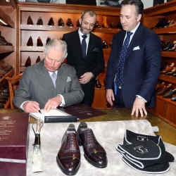The Prince of Wales on a visit to Gaziano & Girling's Kettering factory, with Tony Gaziano (centre) and Dean Girling (right)