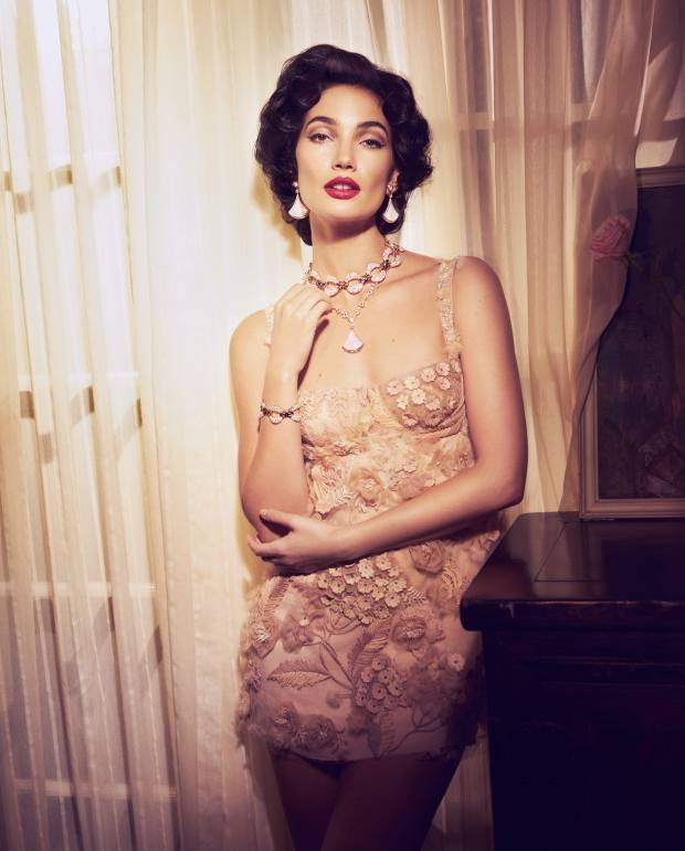 Dior tulle bustier dress, £14,000. Bulgari High Jewellery Collection rose gold, diamond and mother-of-pearl Divas' Dream earrings, matching necklace, rose gold and diamond Parentesi necklace, and matching bracelet. All price on request