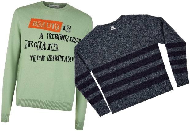 From left: Valentino wool/cashmere jumper, £625. E Tautz handknitted wool jumper, £390