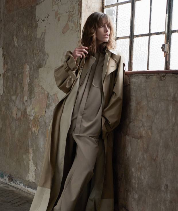 Céline silk trench coat, about £4,776, wool-mix shirt, about £663, and matching trousers, about £867
